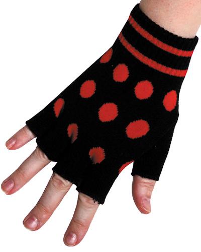 modes rood gestipte dames handschoenen zonder vingers - dames