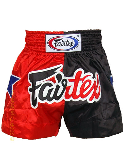 Fairtex Thai Short Red & Black Satin 1