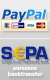 Paypal - all credit cards through Paypal - Easy and safe SEPA banktransfer within the Eurozone.