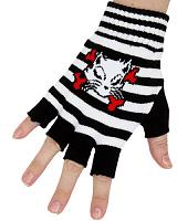 ModeS Girlie Ringer fingerless gloves with Kitty Cat