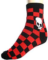 ModeS Sweet Girlie red / black checkered socks with skull