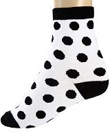 ModeS white girlie socks with black polka dots