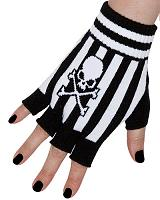 ModeS Girlie fingerless gloves striped and with skull
