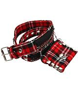 ModeS red tartan belt with a beltpoclet