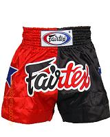 Fairtex Thai Short Red & Black Satin