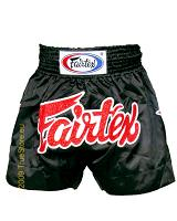 Fairtex Muay Thai Short Black & Black Satin BS86