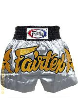 Fairtex Muay Thai short Gold Leaves Silver