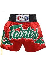 Fairtex Muay Thai short Red - Green Thai Art