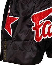 Fairtex Thai Short Black & Black Satin 2