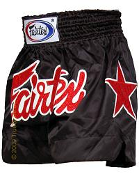 Fairtex Thai Short Black & Black Satin 3